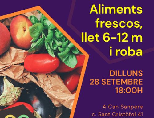 Donación de leche infantil, verduras, fruta y ropa en Premià de Mar